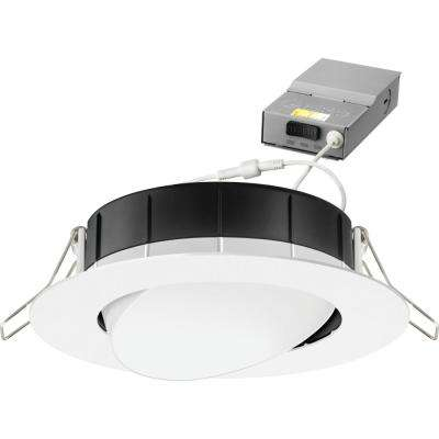 4 in. Selectable Color Temperature New Construction or Remodel Matte White Recessed Integrated LED Gimbal Kit