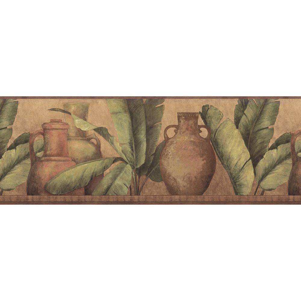 Brewster Red Leaf Urn Wallpaper Border Sample
