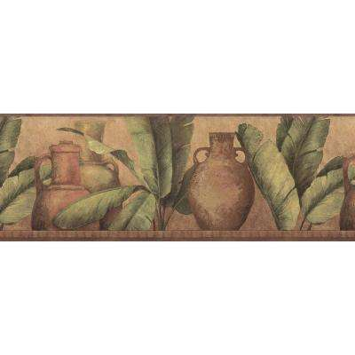 Red Leaf Urn Wallpaper Border Sample