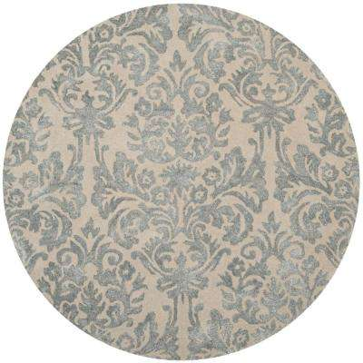 Bella Ivory/Silver 5 ft. x 5 ft. Round Area Rug