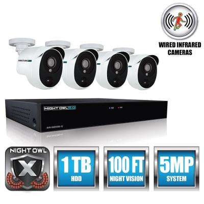 Extreme HD 4-Channel 5MP 1.9TB HDD Surveillance Systems with 4 PIR Cameras