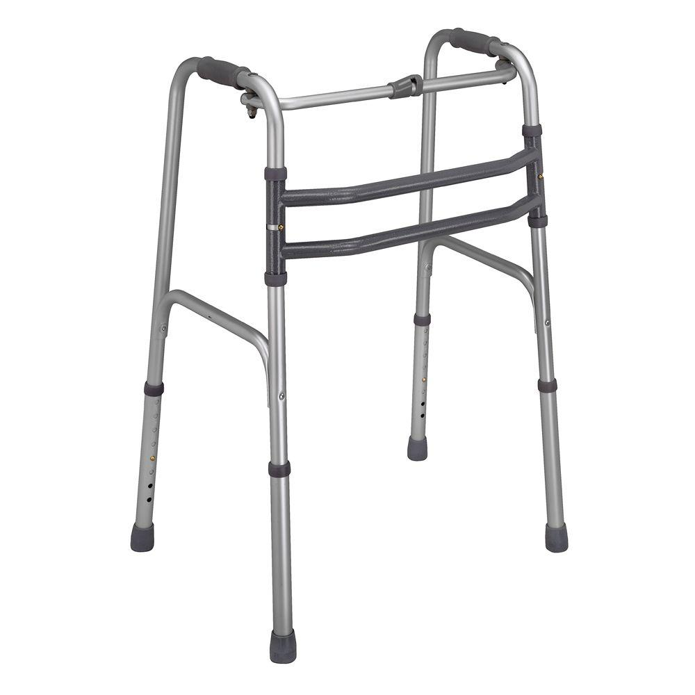 Dmi Single Release Aluminum Folding Walker In Silver 500