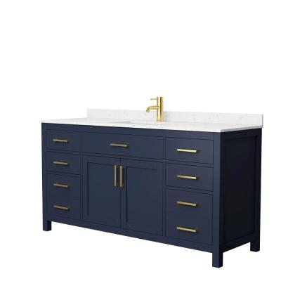Beckett 66 in. W x 22 in. D Single Vanity in Dark Blue with Cultured Marble Vanity Top in Carrara with White Basin