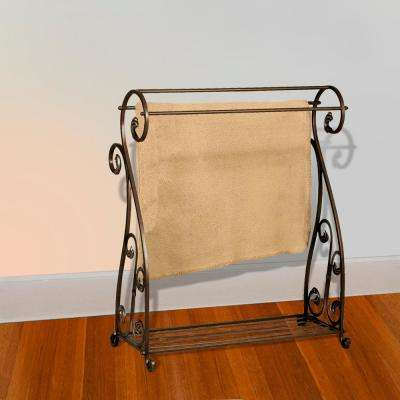 Aged Gold Scrolled Quilt Rack