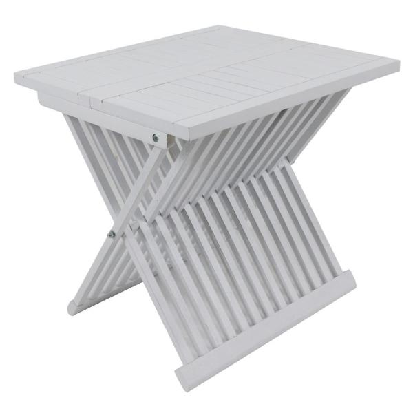Brandon White Wood Outdoor Side Table