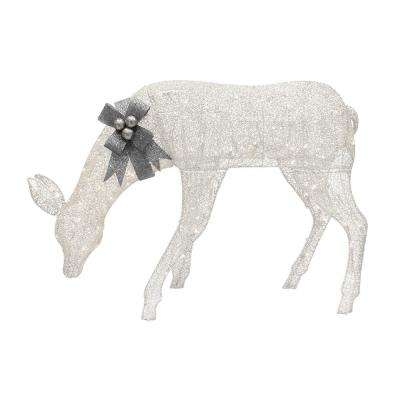 57l mesh fabic feeding doe with white glitters wsliver glittered bow - Outdoor Moose Christmas Decorations