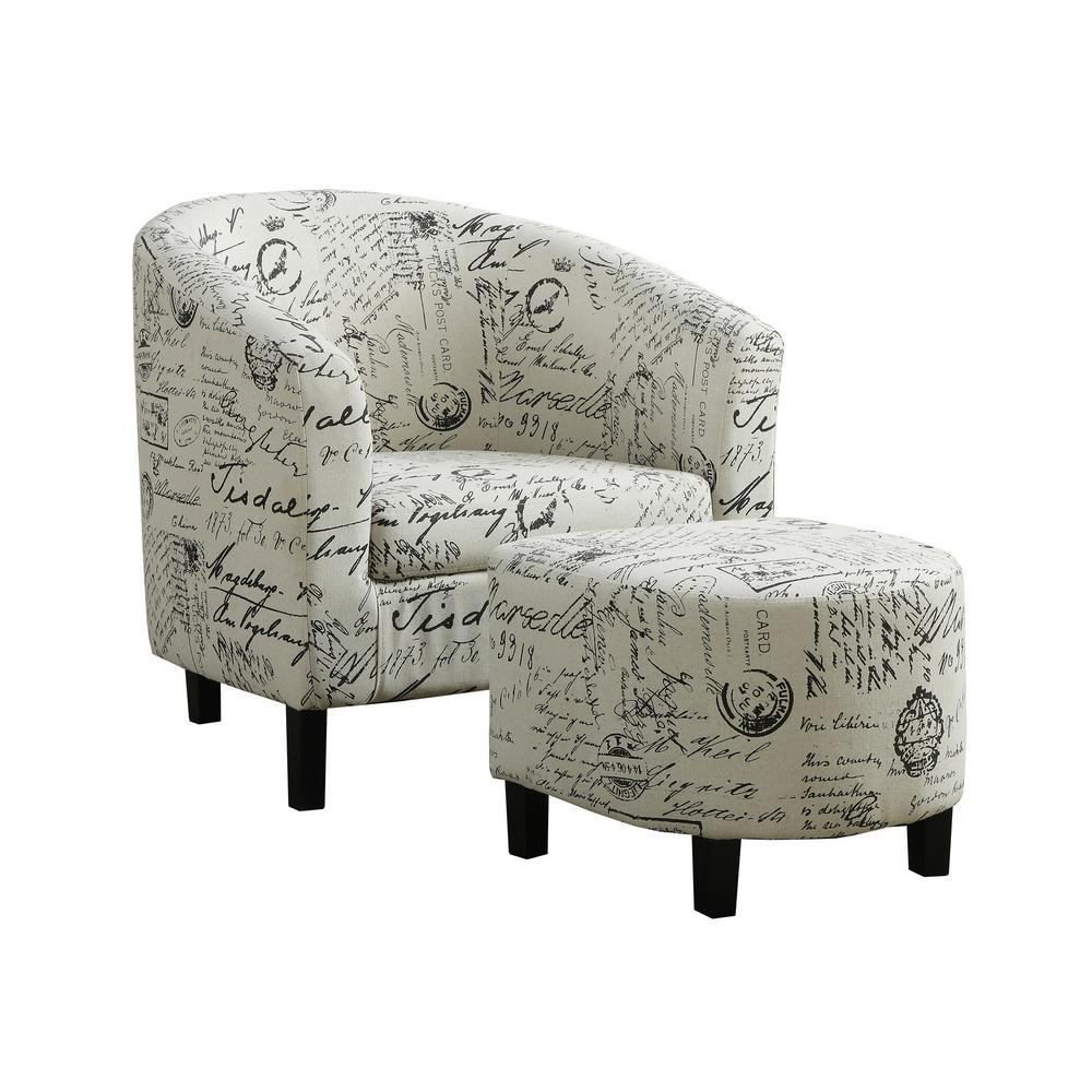 Vintage French Fabric 2 Piece Accent Chair
