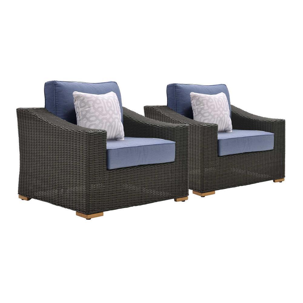 La z boy new boston 2 piece wicker outdoor lounge chair for Boys lounge chair