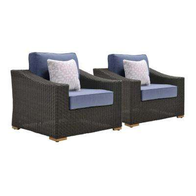 New Boston 2-Piece Wicker Outdoor Lounge Chair with with Sunbrella Spectrum Denim Cushion