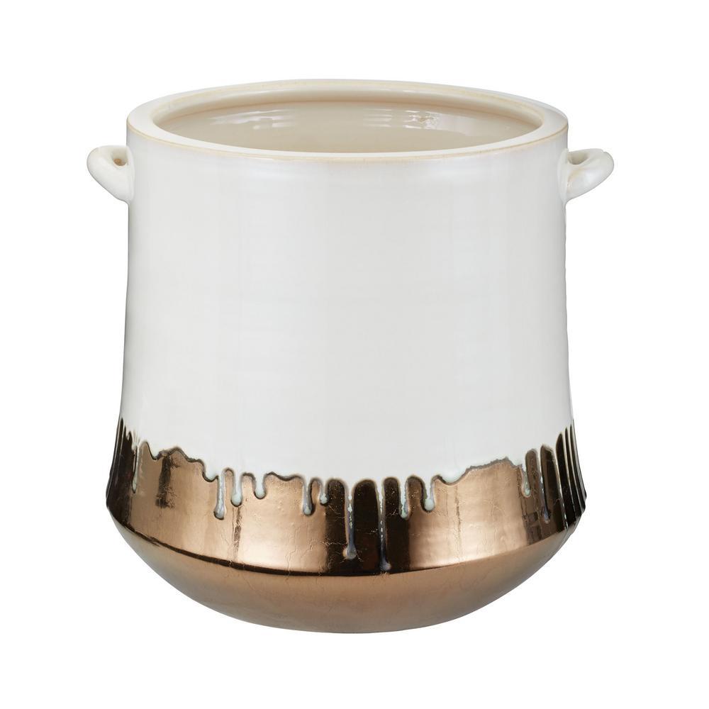 Metallic Alloy Drip 13 in. Earthenware Decorative Crock in White