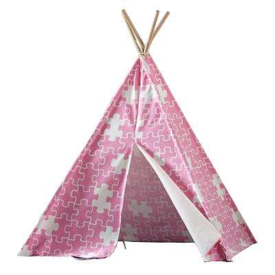turtleplay Cotton Canvas Pink Puzzle Indoor Children's Teepee