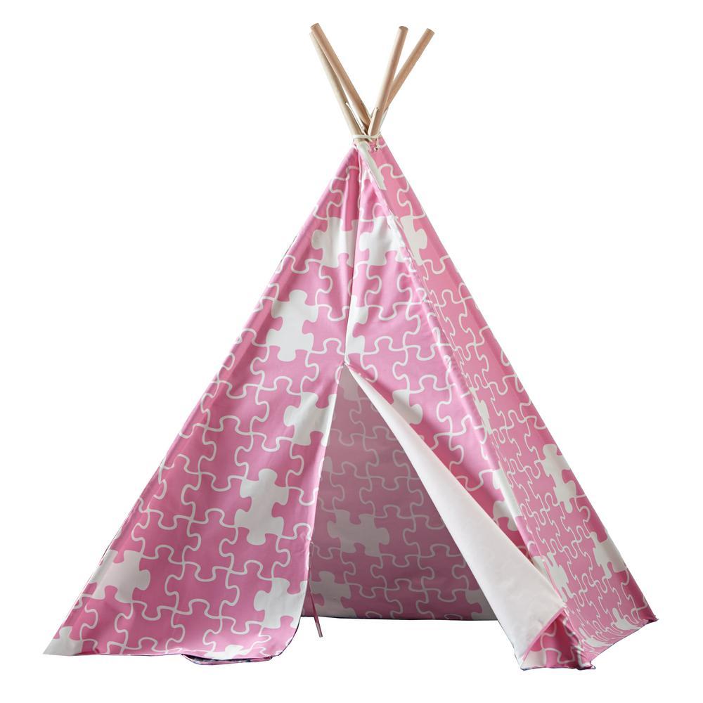 turtleplay Cotton Canvas Pink Puzzle Indoor Children's Teepee