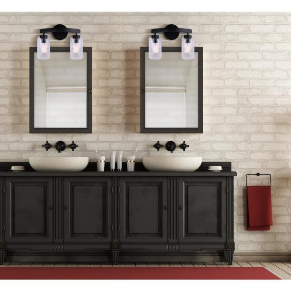 Canarm Newport 14 In 2 Light Matte Black Vanity Light With Watermark Glass Shades Ivl754a02bk The Home Depot