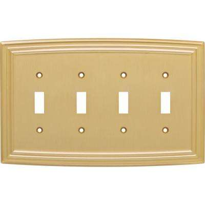 Emery Classical Quadruple Switch Wall Plate, Brushed Brass