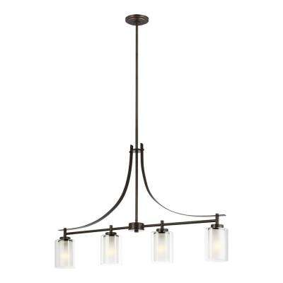 Elmwood Park 4-Light Heirloom Bronze Island Pendant with Satin Etched Glass Shades
