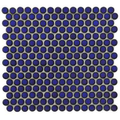 Hudson Penny Round Blue Eye 12 in. x 12-5/8 in. x 5 mm Porcelain Mosaic Tile (10.74 sq. ft. / case)