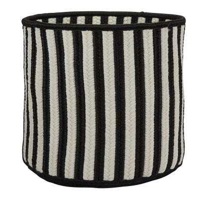 Black 14 in. D x 14 in. W x 12 in. H Vertical Stripe Round Basket
