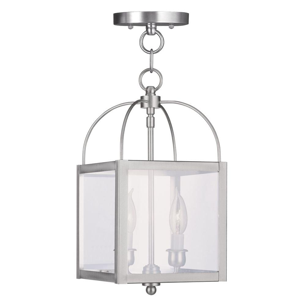 Livex Lighting 2-Light Brushed Nickel Pendant with Clear Glass Shade
