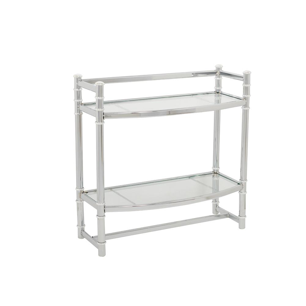 Zenna Home Studio Accents 21 in. W Wall Shelf in Chrome and Glass ...