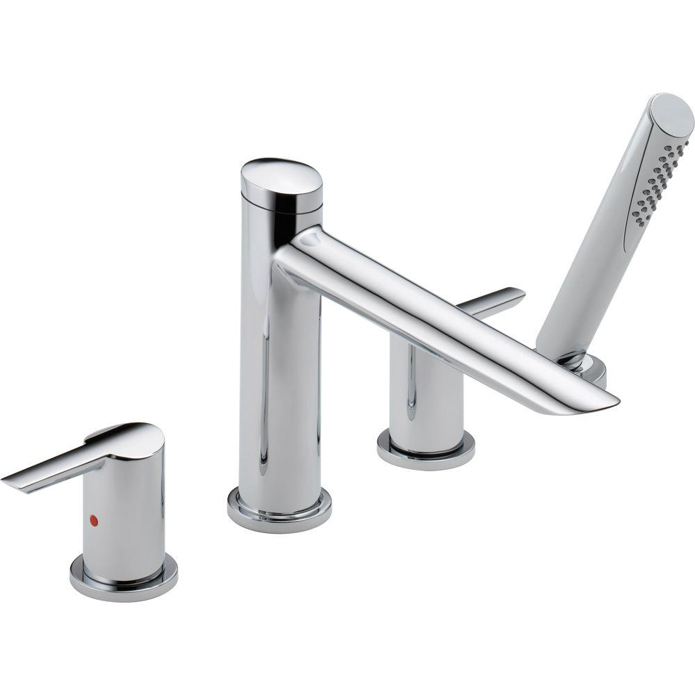 Delta Compel 2 Handle Deck Mount Roman Tub Faucet With Hand Shower