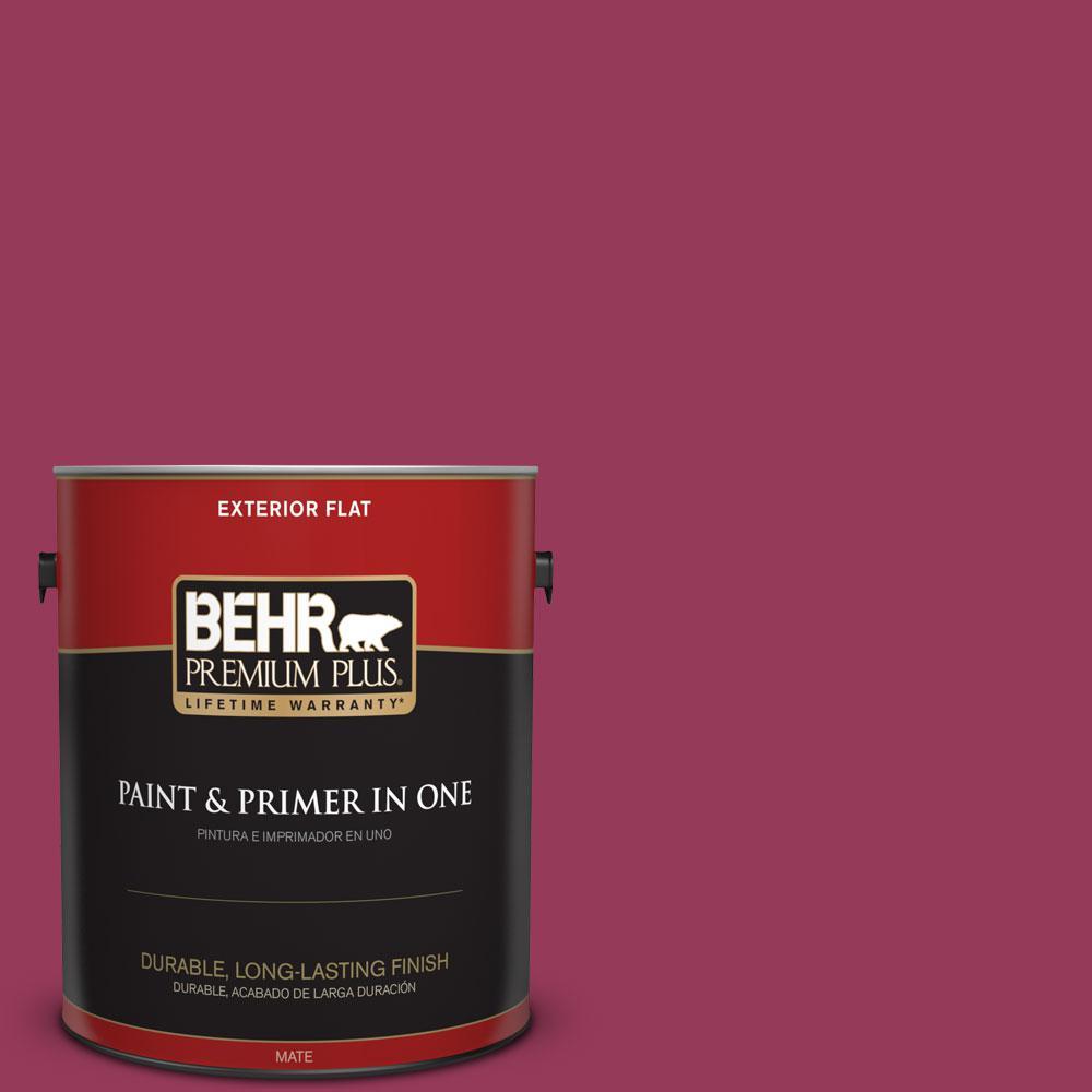 BEHR Premium Plus 1-gal. #110B-7 Raspberry Pudding Flat Exterior Paint