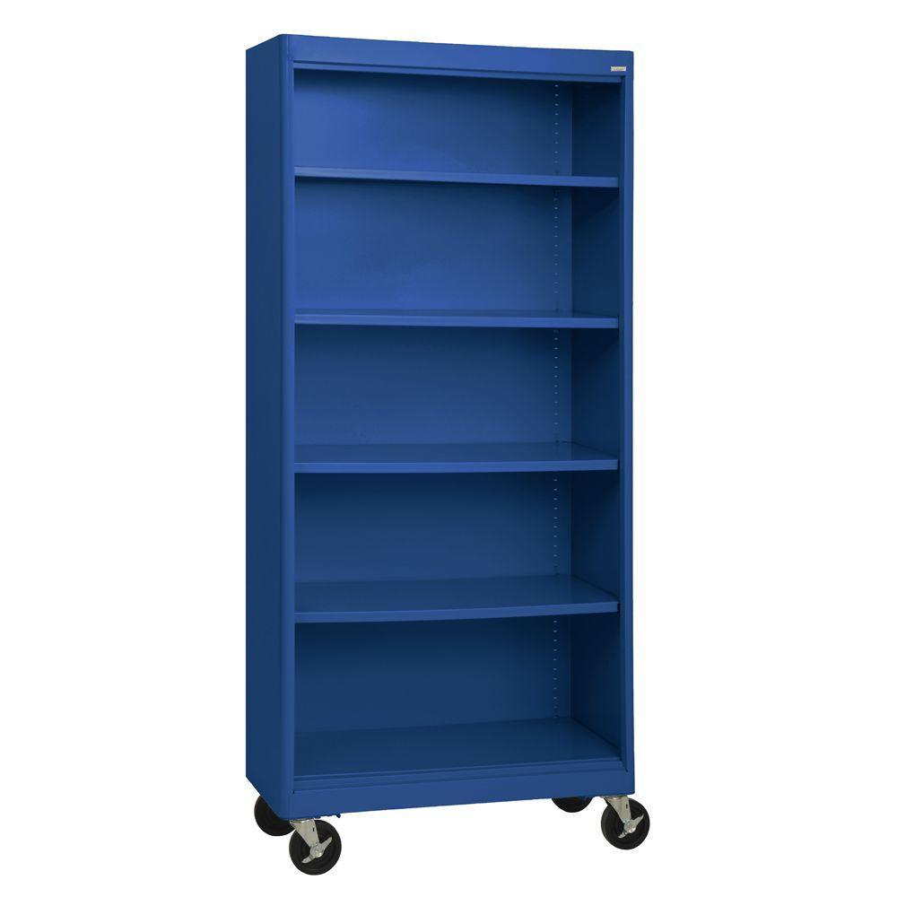 Radius Edge Blue Mobile Steel Bookcase