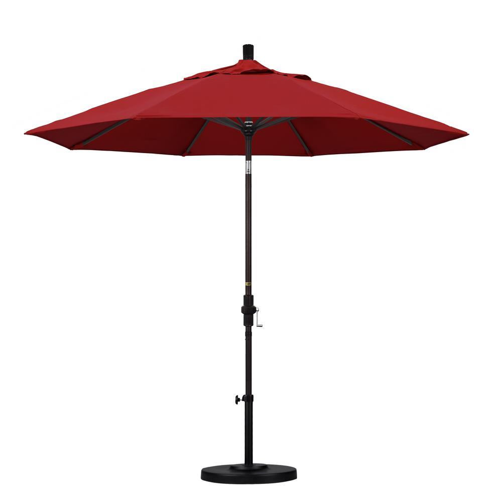 9 ft. Aluminum Collar Tilt Patio Umbrella in Red Pacifica