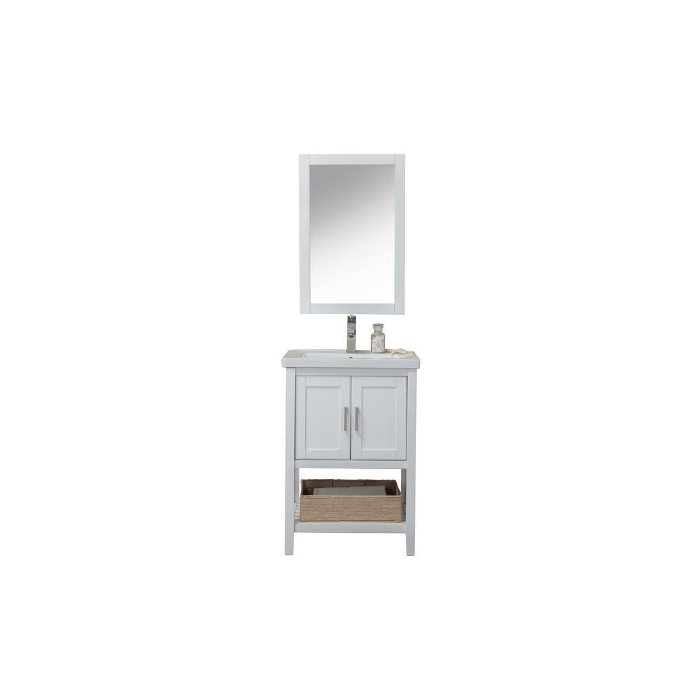 24 in. W x 18.3 in. D x 34.4 in. H Bath Vanity in White with Porcelain Vanity Top in White with White Basin and Mirror