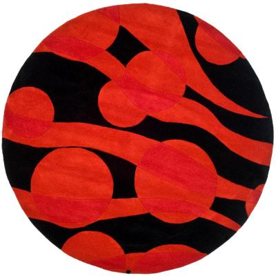 Safavieh Soho Black/Red 6 ft. x 6 ft. Round Area Rug