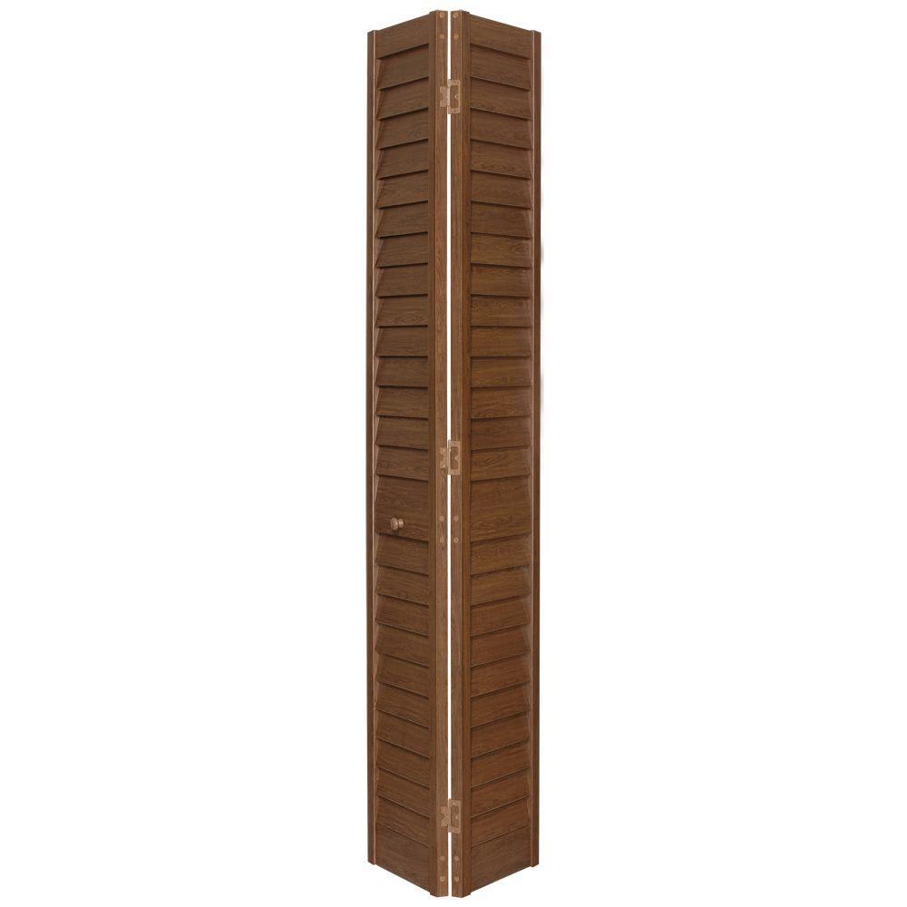 3 in. Louver/Louver Cherry Composite Interior Closet Bi-fold Door