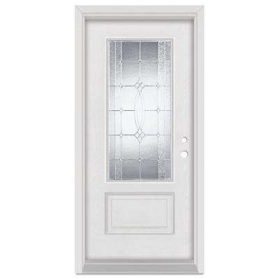 36 in. x 80 in. Diamanti Left-Hand Zinc Finished Fiberglass Mahogany Woodgrain Prehung Front Door Brickmould