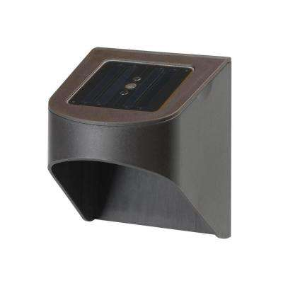 Solar Dark Brown Outdoor Integrated LED Fence or Deck Light (2-Pack)