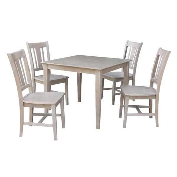 Skylar 5-Piece 36 in. Weathered Taupe Square Solid Wood Dining Set with San Remo Chairs