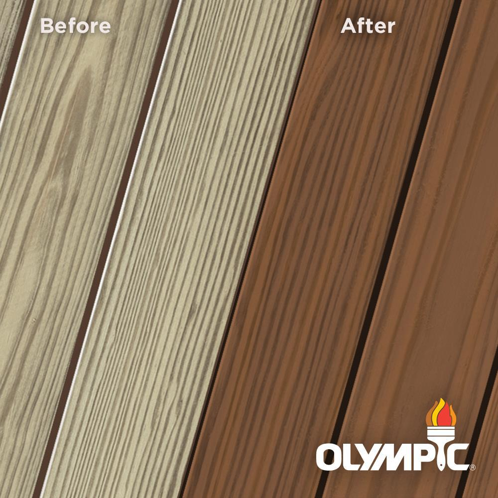 Olympic Elite 8 oz. Chestnut Brown Semi-Transparent Exterior Wood Stain and Sealant in One Low VOC