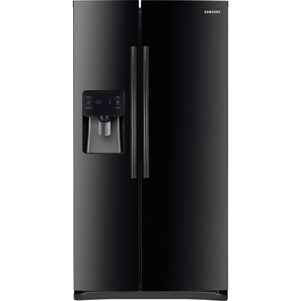 samsung 24 5 cu ft side by side refrigerator in black rs25h5121bc the home depot. Black Bedroom Furniture Sets. Home Design Ideas