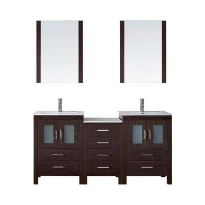 Dior 66 in. W Bath Vanity in Espresso with Ceramic Vanity Top in White with Square Basin and Mirror and Faucet