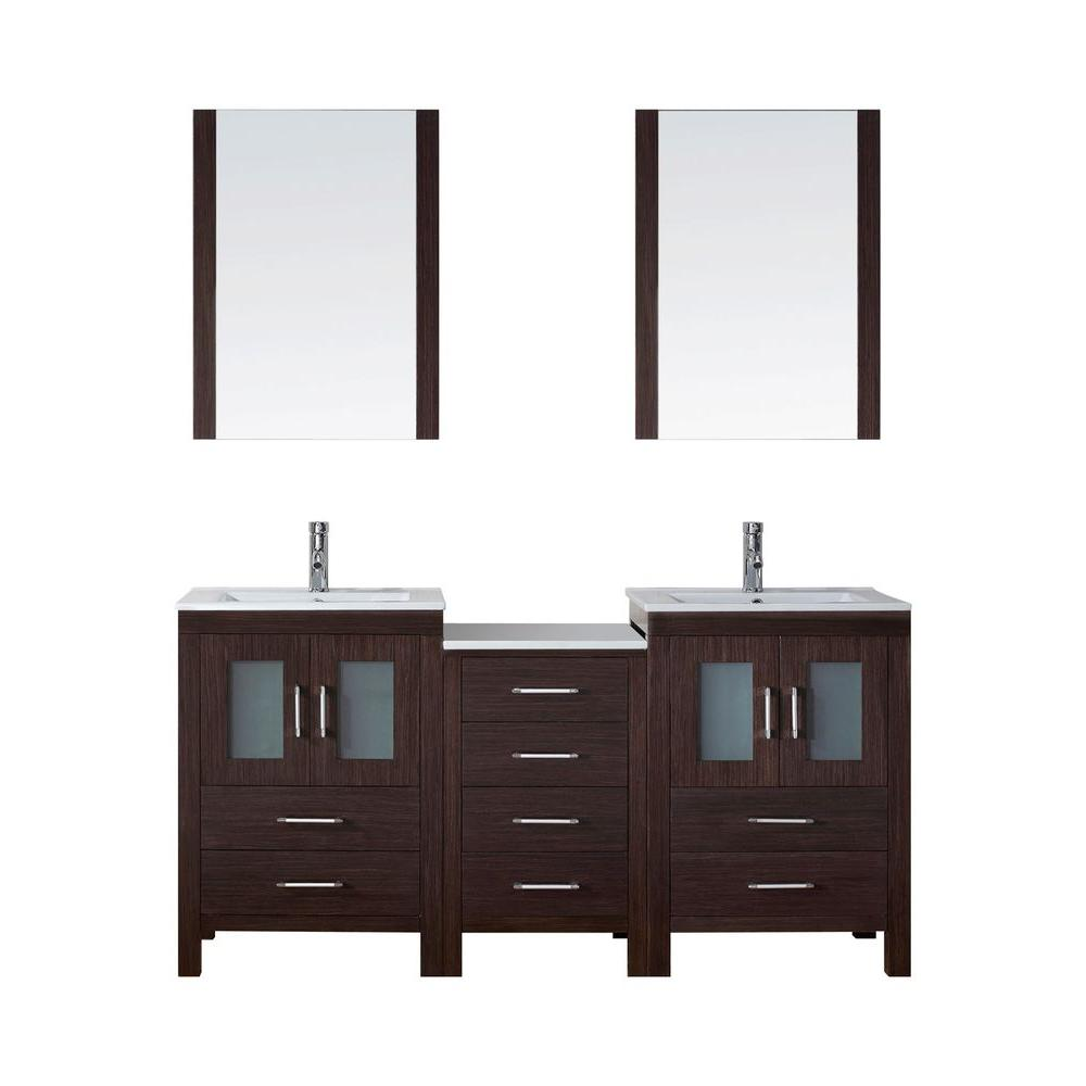 Virtu USA Dior 66 in. W Bath Vanity in Espresso with Ceramic Vanity ...
