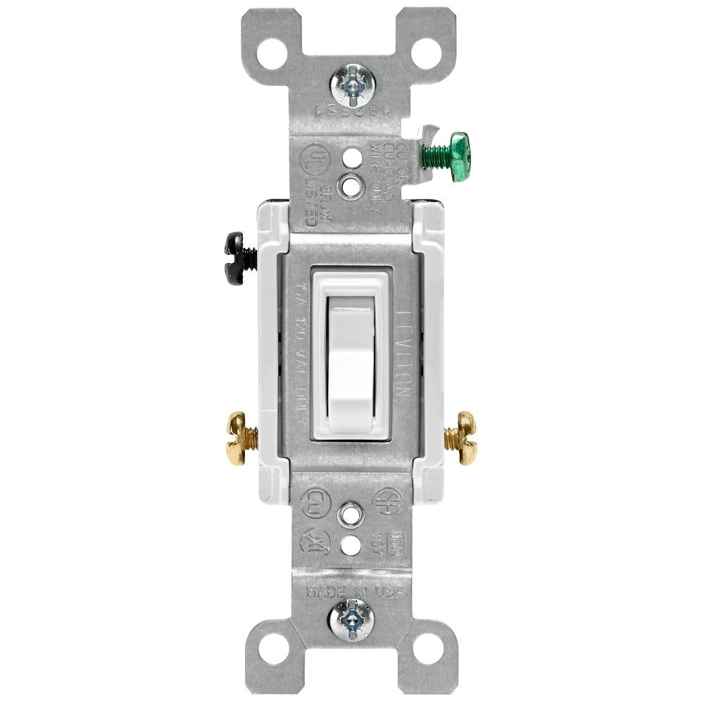 Leviton 15 Amp 3-Way Toggle Switch, White-R62-01453-02W - The Home Depot