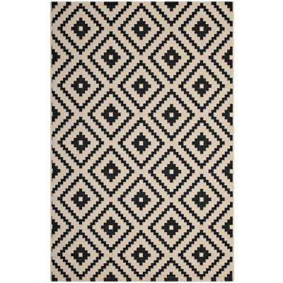 Perplex Geometric Diamond Trellis 8 ft. x 10 ft. Indoor and Outdoor Area Rug in Black and Beige