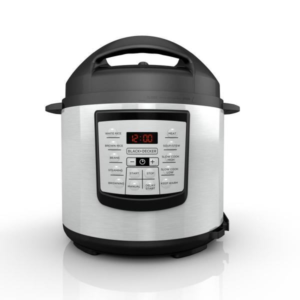 BLACK+DECKER 6 Qt. Stainless Steel Electric Pressure Cooker with Non-Stick Metal