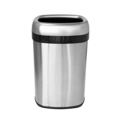 13 Gal., 12 in. Opening Commercial Grade Stainless Steel Dual-Deodorizer Oval Open Top Trash Can