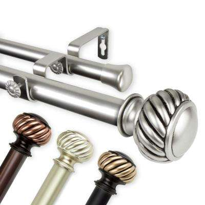 Baldir Double 1 in. Dia 160 in. to 240 in. L Curtain Rod in Light Gold