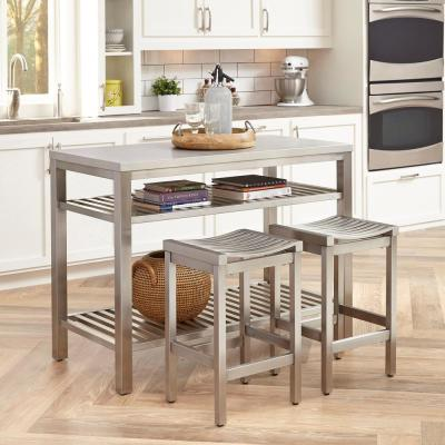 24 in. Brushed Satin Stainless Steel Counter Stool (Set of 2)