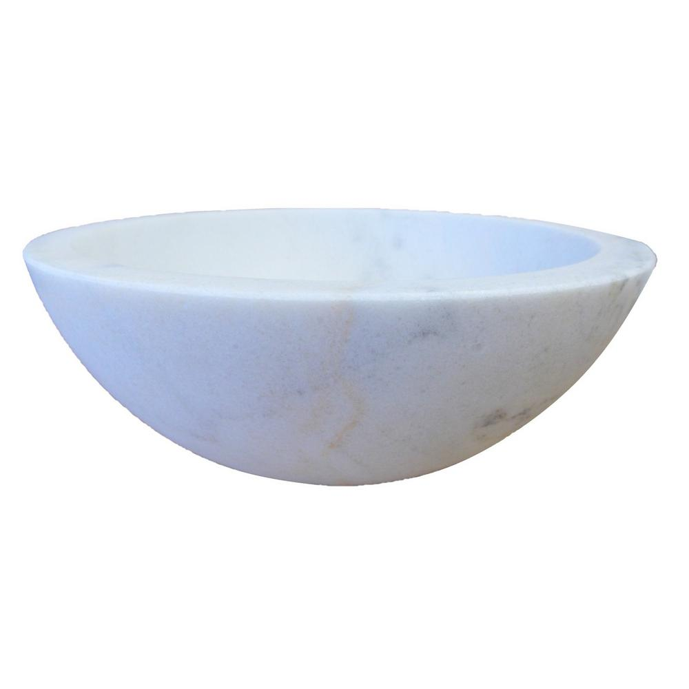 Small Round Stone Vessel Sink In White Marble