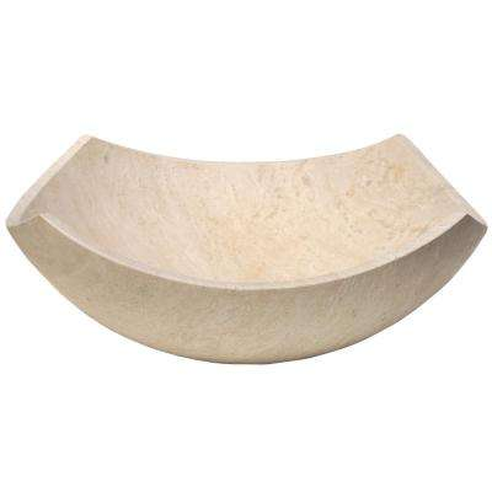 Arched Edges Bowl Vessel Sink in Honed Beige Travertine