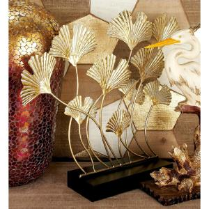 Iron Metal Gold Ginkgo Leaves on Curved Stems Sculpture by