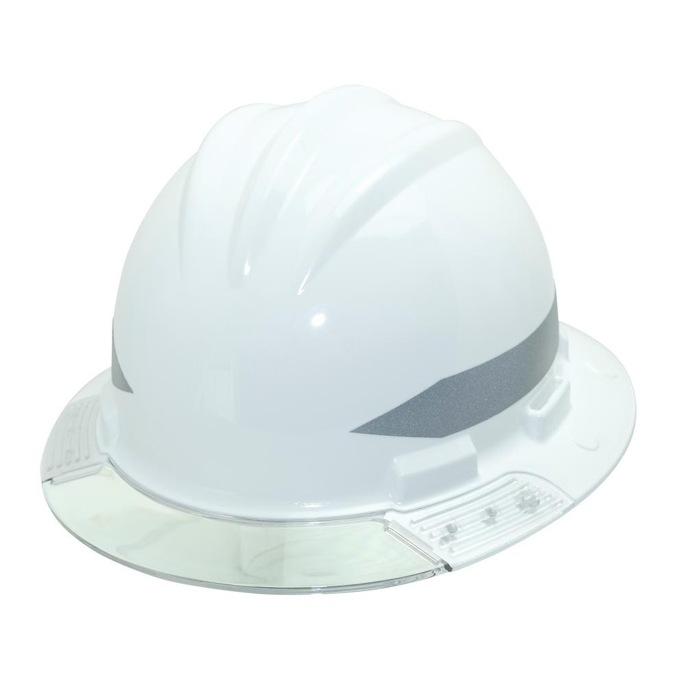 Bullard White Full Brim Above View Hard Hat with Clear Brim Visor 4-Point  Ratchet Suspension System and Cotton Brow Pad