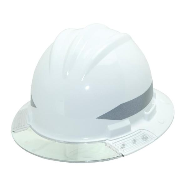 White Full Brim Above View Hard Hat with Clear Brim Visor 4-Point Ratchet Suspension System and Cotton Brow Pad