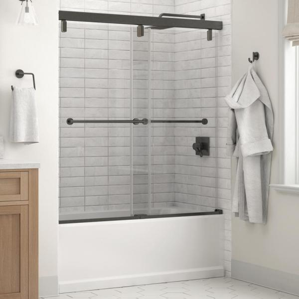 Everly 60 in. x 59-1/4 in. Mod Semi-Frameless Sliding Bathtub Door in Bronze and 1/4 in. (6mm) Clear Glass