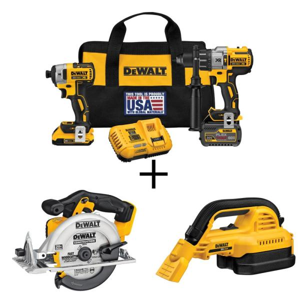20-Volt MAX Cordless Brushless Combo Kit (2-Tool) w/ Bonus 1/2 Gal. Wet/Dry Vac & 6-1/2 in. Circ Saw (Tools-Only)